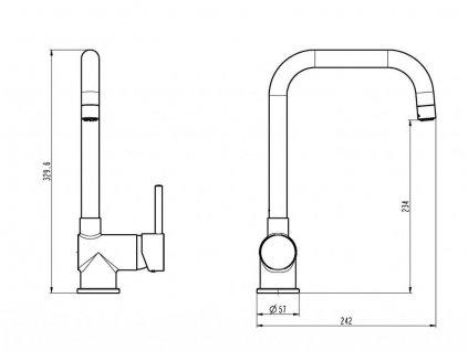 Eisl / Schuette - Dřezová stojánková baterie FUTURA s vysokým výtokem, černá mat, NI182GABL (NI182GABL)