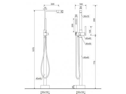 Aquatek - EF.009 CH vanová stojánková baterie (EF.009 CH)
