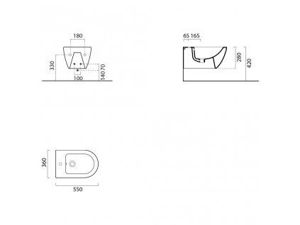 GSI - PURA bidet závěsný, 55x36 cm, bílá ExtraGlaze 8865111