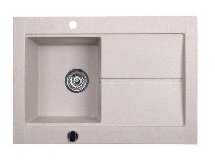 SAPHO - Dřez granitový vestavný s odkapávací plochou, 76,5x53,5 cm, béžová GR1502