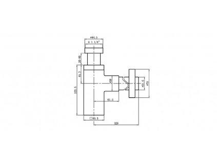AQUALINE - Umyvadlový sifon 1'1/4, odpad 32mm hranatý, chrom CV1004