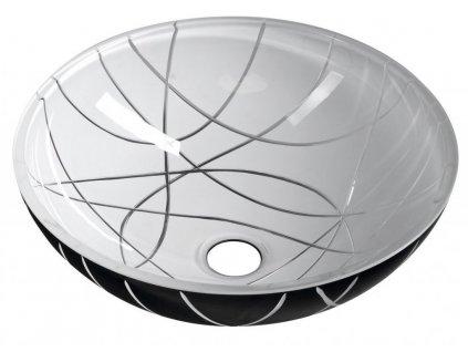 SAPHO - MURANO LINEA skleněné umyvadlo kulaté 40x14 cm, černá/bílá AL5318-13