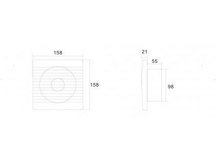 AQUALINE - Koupelnový ventilátor, 230V/50Hz, 100mm, bílá (FBS300)