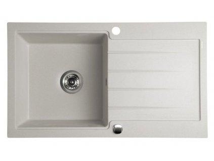 SAPHO - Dřez granitový vestavný s odkapávací plochou, 86x50 cm, béžová GR7102