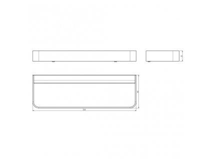 SAPHO - BELLA držák ručníků na bok skříňky 250mm, černá mat FA115NE