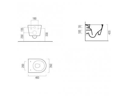 GSI - KUBE X závěsná WC mísa, Swirlflush, 46x35 cm, bílá ExtraGlaze 941811