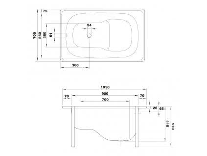 AQUALINE - Sedací smaltovaná vana 105x70cm, bílá V105X70
