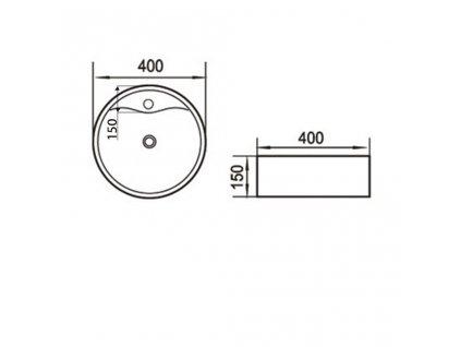 AQUALINE - Keramické umyvadlo průměr 40x15 cm, na desku 49413