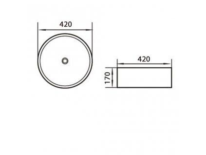 AQUALINE - Keramické umyvadlo průměr 42x17 cm, na desku 49414