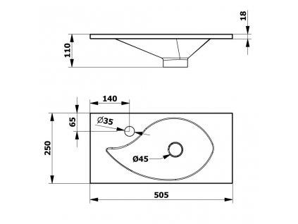 SAPHO - AQUA umývátko 50,5x1,8x25cm, litý mramor, bílá (10053)