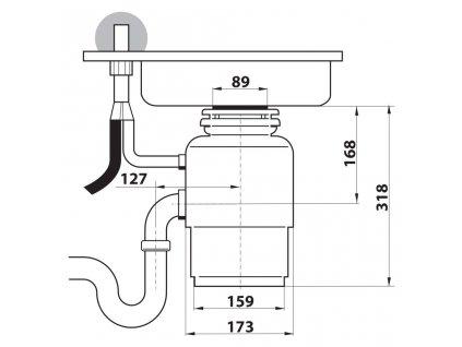 SAPHO - IN SINK dřezový drtič kuchyňského odpadu, 230V, 380W, pneu. spínač (MODEL56)