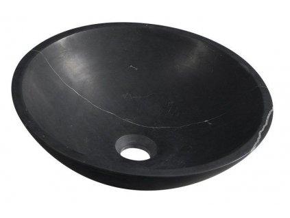 SAPHO - BLOK kamenné umyvadlo průměr 40 cm, černý Marquin, matný (2401-35)