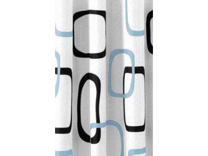 AQUALINE - Sprchový závěs 180x200cm, polyester, bílá/černá/modrá (ZP004)