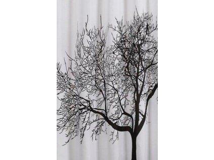 AQUALINE - Sprchový závěs 180x200cm, polyester, černá/bílá, strom (ZP008)
