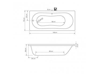 AQUALINE - JIZERA vana 140x70x39cm, bez nožiček, bílá G1470