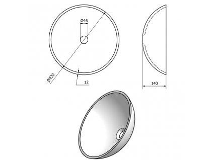 SAPHO - FIANNA skleněné umyvadlo průměr 42 cm, bronz 2501-21