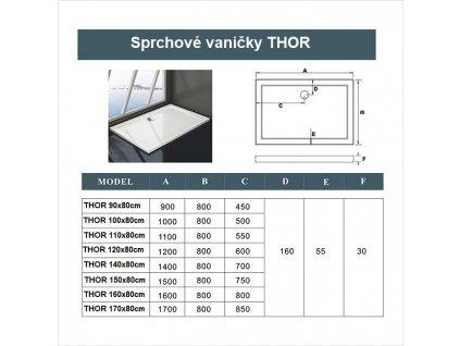 H K - THOR Sprchová vanička z litého mramoru, obdélník, 90x80x3 cm (SE-THOR-9080)