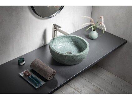 SAPHO - PRIORI keramické umyvadlo, průměr 42cm, zelená (PI013)
