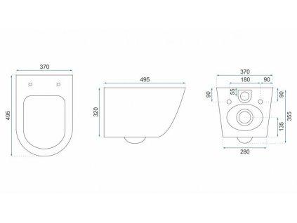 REA - Závěsná WC mísa Carlo Mini Rimless Flat černá REA-C8936