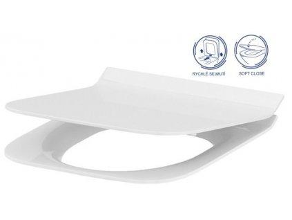 VIEGA Presvista modul DRY pro WC včetně tlačítka Style 20 bílé + WC CERSANIT CLEANON CREA čtverec + SEDÁTKO (V771973 STYLE20BI CR2)