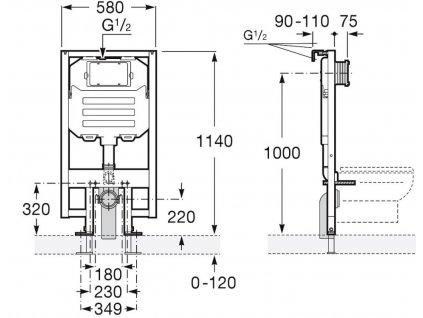JIKA - předstěnový instalační 8 cm systém bez tlačítka + WC CERSANIT CLEANON CREA čtverec + SEDÁTKO (H894652 X CR2)