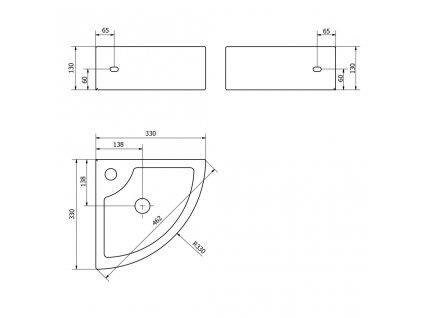 SAPHO - GYNT keramické umyvadlo rohové 33x13x33 cm AR154
