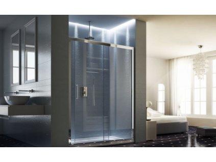 HOPA - Sprchové dveře MAYA - BARVA rámu - Hliník leštěný, Rozměr A - 145 cm, Směr zavírání - Univerzální Levé / Pravé, Výplň - Acidato bezpečnostní sklo - 6 mm BLMA105CM