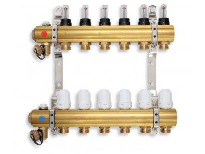 Novaservis - rozdělovač s regul.šroubením s průt.a uzav.ventily bez kul. (RZP12S)