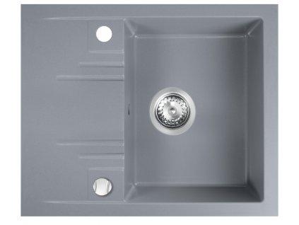 Novaservis - granitový dřez s odkapem, s přepadem z dřezu, šedá (DRGM48/58GA)