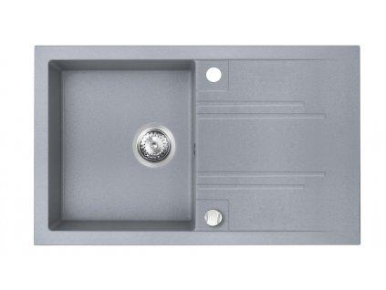 Novaservis - granitový dřez s odkapem, s přepadem z dřezu, šedá (DRGM48/78GA)