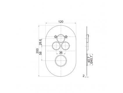 MEREO - Termostatická podomítková tlačítková baterie - 3-cestná - oválný kryt CB60157TB