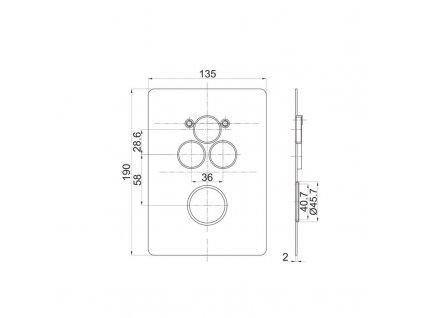 MEREO - Termostatická podomítková tlačítková baterie - 3-cestná - hranatý kryt CB60157TC
