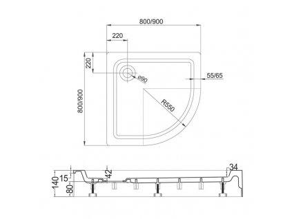 MEREO - Čtvrtkruhová sprchová vanička R550, 90x90x14 cm, SMC, bílá, včetně nožiček a sifonu (CV01H)