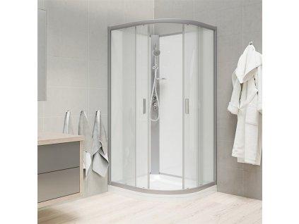 MEREO - Sprchový box, čtvrtkruh, 90 cm, satin ALU, sklo Point, zadní stěny bílé, litá vanička, bez stříšky (CK35122MW)