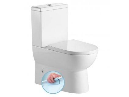 AQUALINE - JALTA WC kombi, Rimless, spodní/zadní odpad + sedátko, bílá PB103