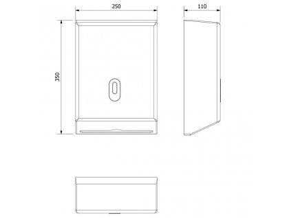 AQUALINE - Zásobník papírových ručníků 250x350mm, bílý (1319-80)