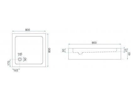 REA - Sprchový kout Punto 80x80 černý REA-K4800