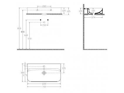 ISVEA - SISTEMA U keramické umyvadlo 70x38 cm, bílá (10PL53070)
