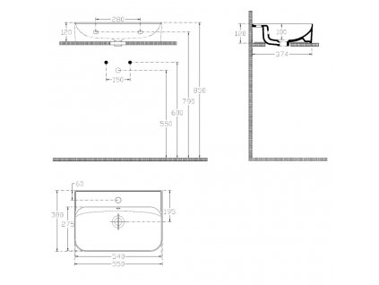 ISVEA - SISTEMA U keramické umyvadlo 55x38 cm, bílá 10PL53055