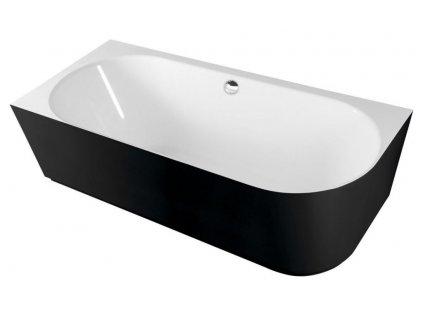 POLYSAN - SUSSI L volně stojící vana litý mramor 160x70x49,5cm, černá/bílá 80219L