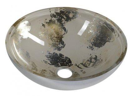 SAPHO - MURANO ANIMA 2 skleněné umyvadlo kulaté 40x14 cm, stříbrná/béžová AL5318-42