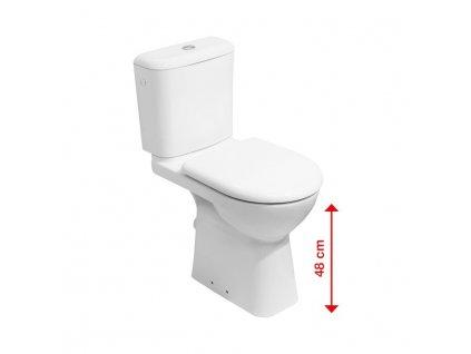 JIKA Deep by Jika - zvýšená WC mísa 48 cm, hluboké splachování, vodorovný odpad (H823616), bílá (H8236160000001)