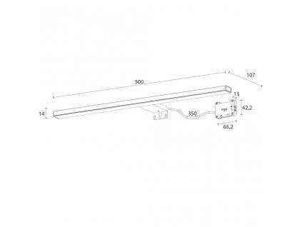 SAPHO - ESTHER 2 LED svítidlo, 8W, 500x14x107mm, černá E27586CI