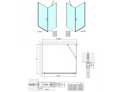 SAPHO - Zoom Line obdélníkový sprchový kout 1000x800mm, L/P varianta ZL1210ZL3280