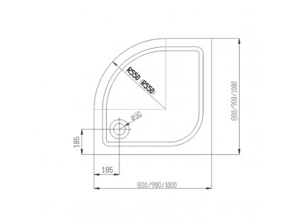 SPRCHOVÝ KOUT ČTVRTKRUH 90x90 TRANSPARENT SKLO + VANIČKA (S162-010-SET1)