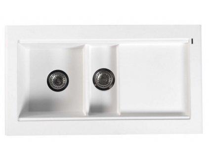 SAPHO - Dřez granitový vestavný s odkapávací plochou a vaničkou, 95,8x53,4 cm, bílá GR1301