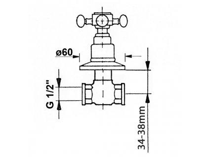 Reitano Rubinetteria - ANTEA podomítkový ventil, teplá, chrom 3051H