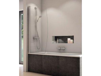 SanSwiss Ronal SOLINO jednodílná vanová zástěna, 850x1500mm, bílá, čiré sklo (SOLB108500407)