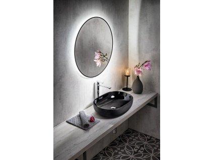SAPHO - SHARON kulaté LED podsvícené zrcadlo, průměr 80cm, černá mat (E28904CI)