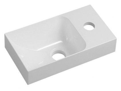 SAPHO - PICCOLINO umývátko 30,5x10x17cm, litý mramor, baterie vpravo, bílá (PK305)